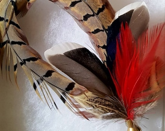 Firey Fancy Game Feather Hat or Jacket Pin Buttonhole