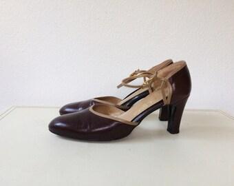 two tone heels / brown leather heels / Selby heels