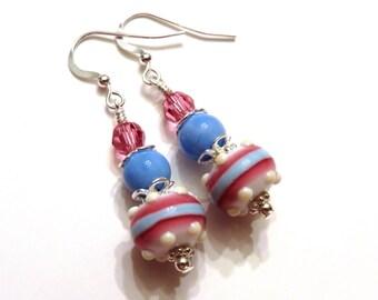 Pink Blue & White Lampwork Earrings, Pink Earrings, Blue Earrings, White Earrings, Blue Lampwork Earrings, Pink Lampwork Earrings