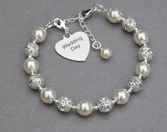 Wedding Day Charm Bracelet, Brides Jewelry, Bridal Bracelet, Pearl Rhinestone Bracelet, Newlywed Jewelry, Gift for Bride