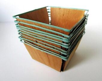 Vintage Wood Berry Baskets - Set of 10