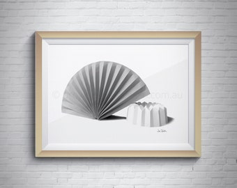 Paper folding, Origami fan, Printable art, Printable wall art, Digital download, Wall décor art, Grey printable art, Black and white art