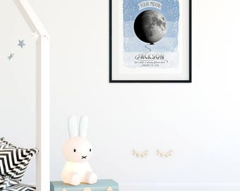 Personalized Baby Gift Moon Print, Birth Details Custom Moon Phases Wall Art for Baby Nursery Moon Decor Unique Baby Gift Moon Nursery Print
