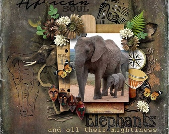 African Digital Scrapbook Kit : AFRICA UNLEASHED - Digital scrapbooking can be a creative and fun way to keep memories and make new ones!