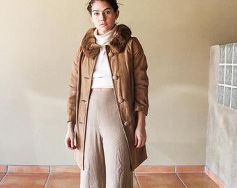 60's Suede Coat | Fur Collar Suede Coat