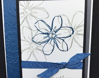 Sympathy card, handmade card, blue and gray