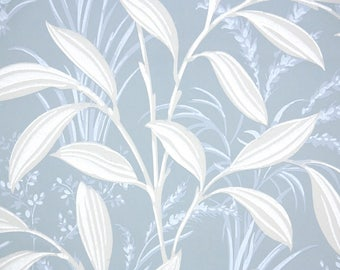 1930s Vintage Wallpaper by the Yard - White Leaves on Blue Background