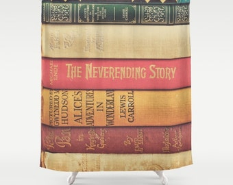 Books Shower Curtain, Peter Pan, Bathroom Decor, Alice in Wonderland, Book Lovers, Gift for Readers, Boho Home Decor, Neverending Story
