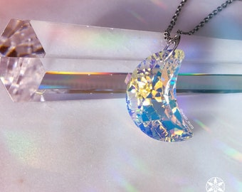 XL Swarovski Crystal Crescent Moon Pendant Necklace