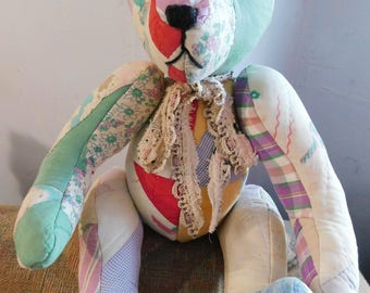 Handcrafted Teddy Bear from Antique Quilt, Antique Lace Bow, 20 Inches Tall