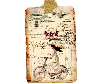 Victorian Bicycle Gift Tags , Girl on Bike Tags , Shabby Tags , Vintage Tags , French Tags