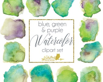 Blue Green Purple Watercolor Clipart Set | Watercolor Graphics | Hand Painted Watercolor PNGs | Blue Green Watercolor Set of 12 | Watercolor