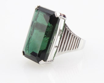 Huge Green Crystal  Ring In Sterling Silver 541001 #19