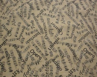 Musical Notes & Words-Ivory B/G-Blank Quilting-BTY