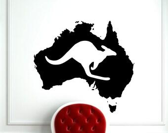 Australia Map Kangaroo Wall Decal Wild Animal Wallaby Vinyl Sticker Home Interior Kids Room Nursery Art Decoration Mural (206a)