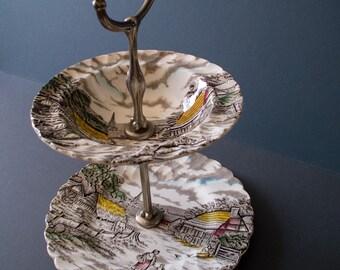 Vintage MYOTT cake stand, two layer, RURAL SCENE, romantic, English china, Staffordshire