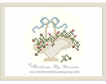 Victorian Flower Basket with Bow - Original Floral Machine Cross Stitch Design - Machine Embroidery Design - Floral - 4 x 4 - HBS-401