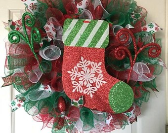Red, Green and White Stocking mesh wreath