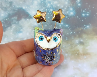 Galaxy Owl Sculpture with Gold Luster