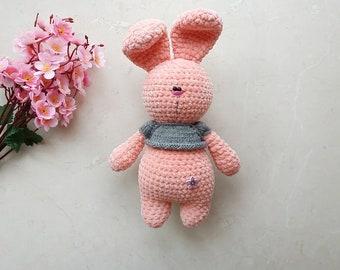 Amigurumi bunny, pink crochet bunny, cute stuffed animal, easter bunny plush, bunny baby girl, personalized crochet rabbit bunny baby shower
