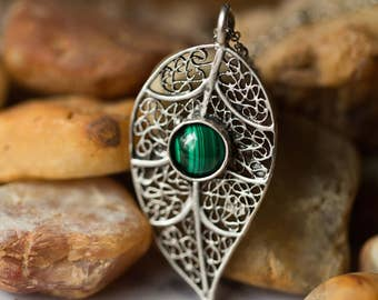 Silver Leaf Necklace with Malachite - Natural Stone, Bohemian Pendant, Protection Totem - Nature Inspired Jewelry by Yugen Tribe