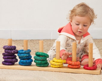Stacking toys for babies / Rainbow stacking rings / Montessori / Rainbow stacker rings / Toddler educational toy/ Rainbow Toy