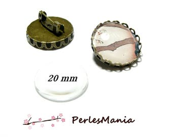 20 pieces: 10 blank wave brooch made of 20mm BRONZE 2D8763 and 10 cabochons