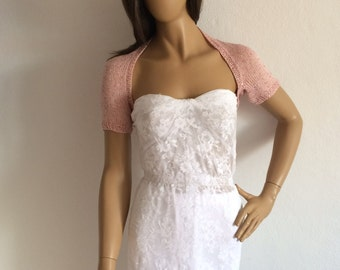 Pink Shrug, Bridal Bolero, Summer Shrug, Bridal Cover Up, Sequin Shrug