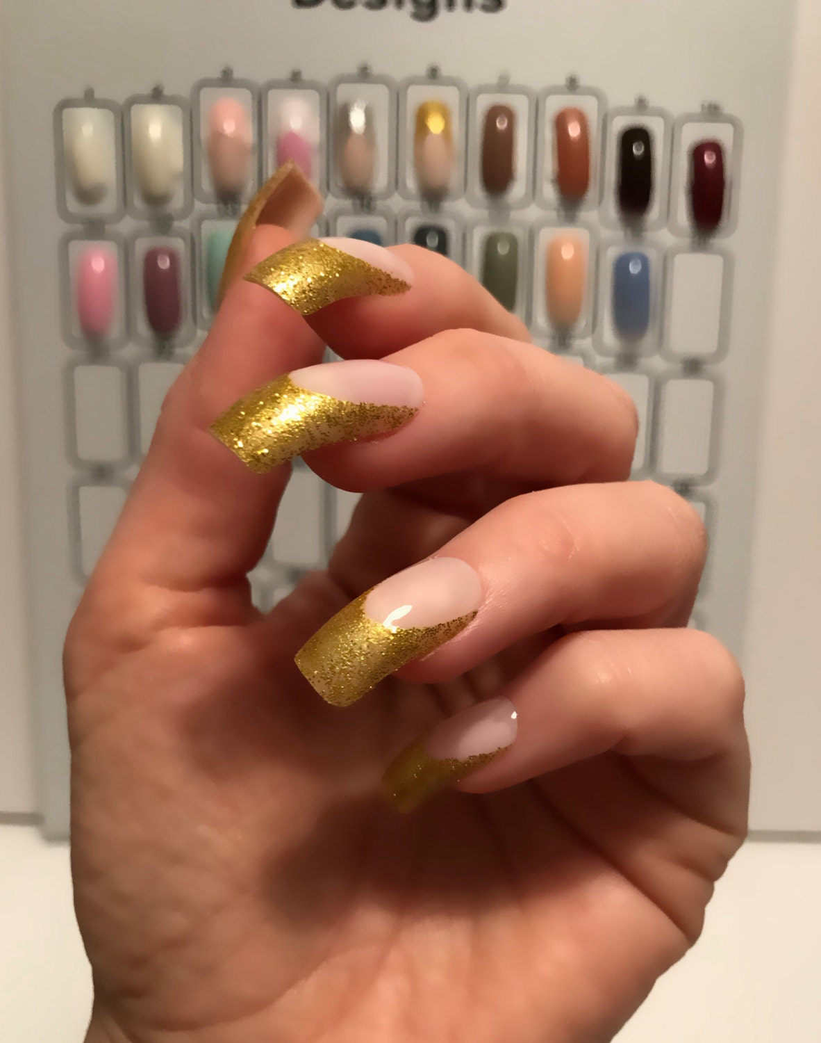 Gold glitter French manicure pink Long square false nail covers 24 ...