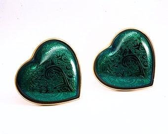 Vintage YSL Yves Saint Laurent  Green Heart Clip On Earrings