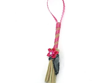 Mini Broom Ornament #1 with a Pink Flower