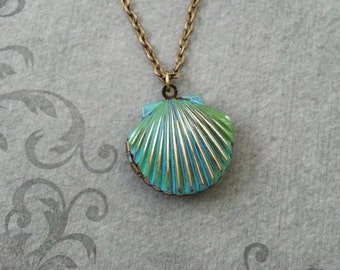 Clam Necklace Bronze Patina Clam Locket Oyster Necklace Blue Patina Jewelry Patina Necklace Beach Necklace Ocean Necklace Shell Necklace