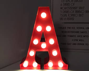 Vintage Carnival Style Metal  Marquee Light, Light up Letter A - Battery Operated