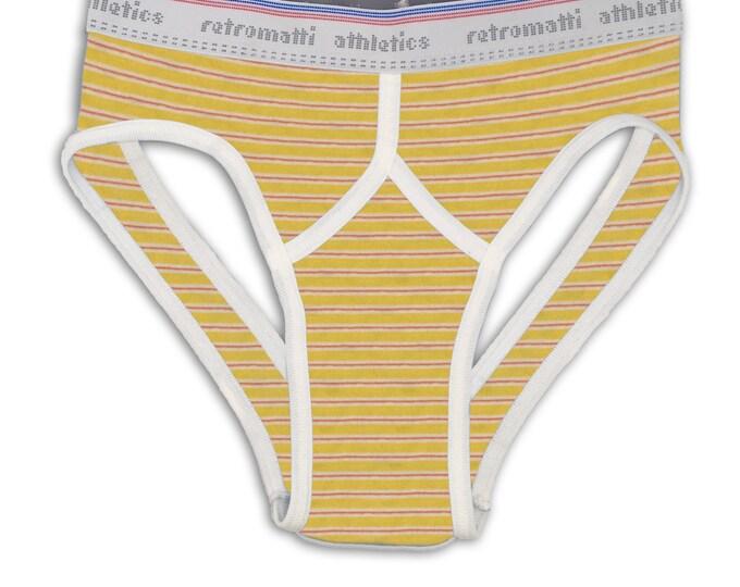 Retro jock briefs in red & yellow stripes