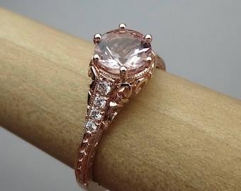 Vintage Antique Style Engagement Ring Pink Morganite with Diamonds Engraved Filigree 14K Rose Gold