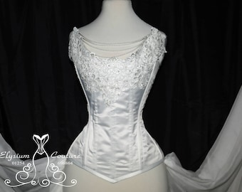 White satin bridal corset , lace and pearls corset