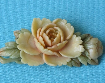 Brooch Pin Molded Celluloid Intricate Detail Pale Pink Peony Flower & Bud Green Leaves Floral Japan Vintage 1930's