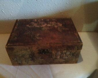 Carved Sewing Box Storage Jewelry Trinket Box