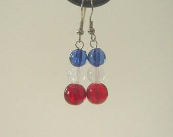 3 Bead Patriotic Earrings - Hand-made