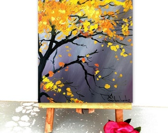 Tree Painting Original Oil Painting Abstract Palette Knife Landscape Painting by Tetiana