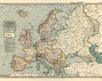 MP53 Vintage 1897 Historical Antique Old Map Of Europe Poster Re-Print Wall Decor A1/A2/A3
