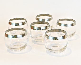 Roly Poly Glasses With Silver Tone Band, Retro Barware, Six Vintage Lowball  Glasses,