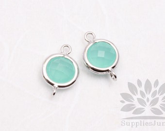 F124-S-LM// Rhodium Plated Light Mint Rounded Glass Pendant Connector, 2 pcs