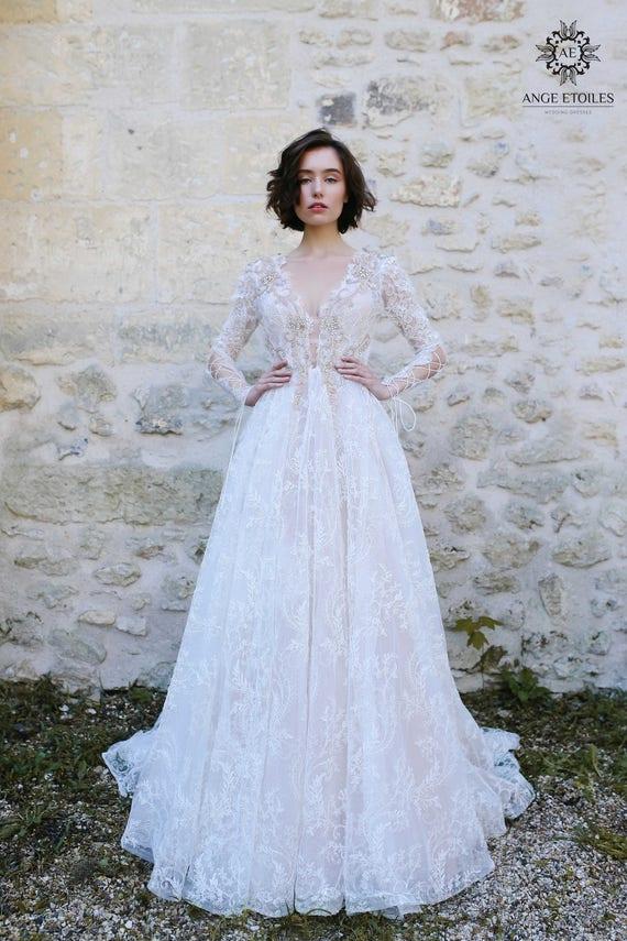 Wedding Dress OLIVIA Long Sleeve Boho Fairy Beach