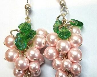 Swarovski Pink Pearl Grape Earrings