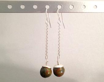 Unakite on a chain Pearl Earrings