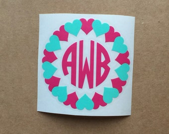 Heart Monogram Decal | Circle Monogram | Monogram Sticker | Valentines Decal | Heart Decal | Two Color Decal | Car Decal | Tumbler Decal