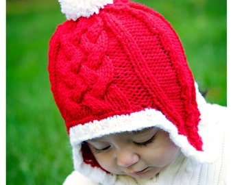 Santa Hat, St Nick Cap, Christmas Holidays, Earflap Hat, Pom Pom Cap, Hand Knit Cabled, Red White  Joy Candycaine, Photo Prop ANY SIZE