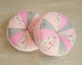 Floor cushion round patchwork pink, taupe and grey - customizable