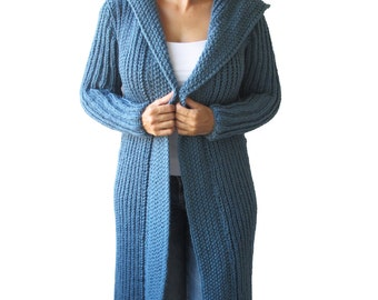NEW! Blue Long Hand Knitted Cardigan by Afra